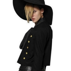 Ruffle Pea Coat Cropped Trench Jacket Navy Wool M